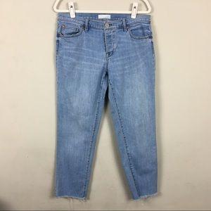Loft boyfriend Cropped jeans frayed hems 8